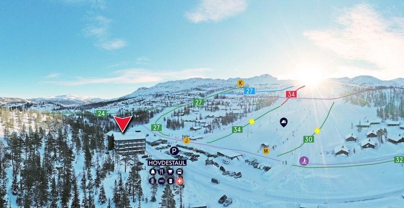 Gaustatoppen Sportell markert med rød pil ved Hovdestaul og søndre del av Gausta Skisenter ved Gaustatoppen