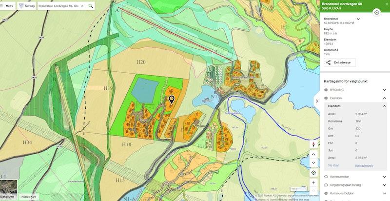 Brendstaul Nordvegen 50 merket med synlig reguleringskart og kommunedelplan på www.kommunekart.com