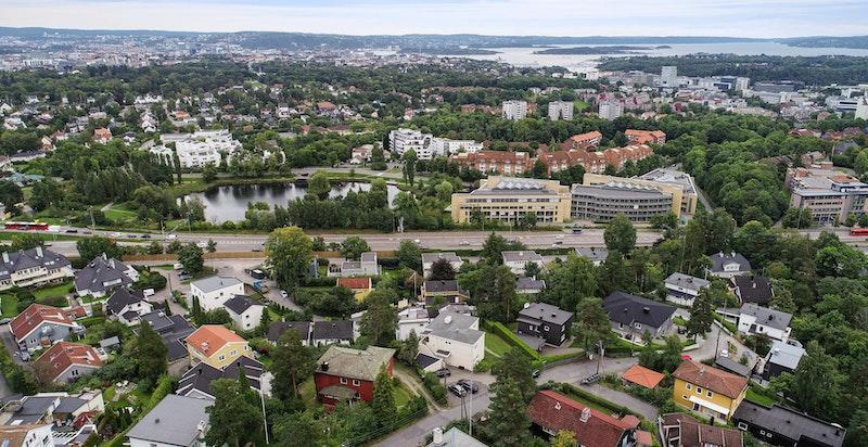 Oversiktsbilde - hyggelig nabolag i et høydedrag over Smestaddammen