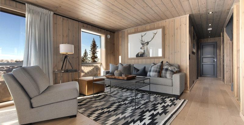 Hytta er bygget i 2019 og fremstår som innbydende og moderne