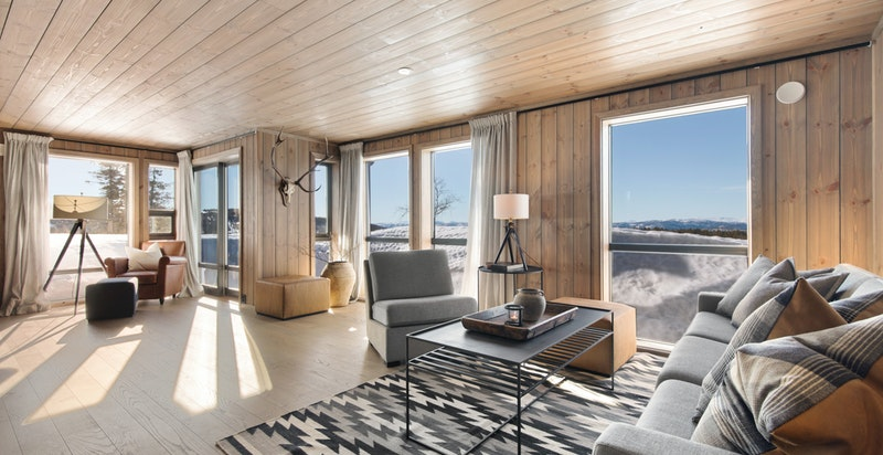 Lys og romslig stue med store vindusflater
