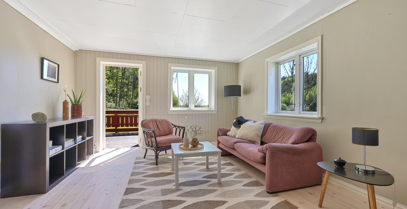 Stue med godt lysinnslipp og utgang til solrik terrasse og hage