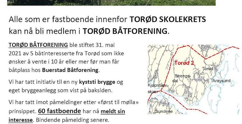 Torød Båtforening (for fastboende - se nærmere beskrivelse i prospektet)