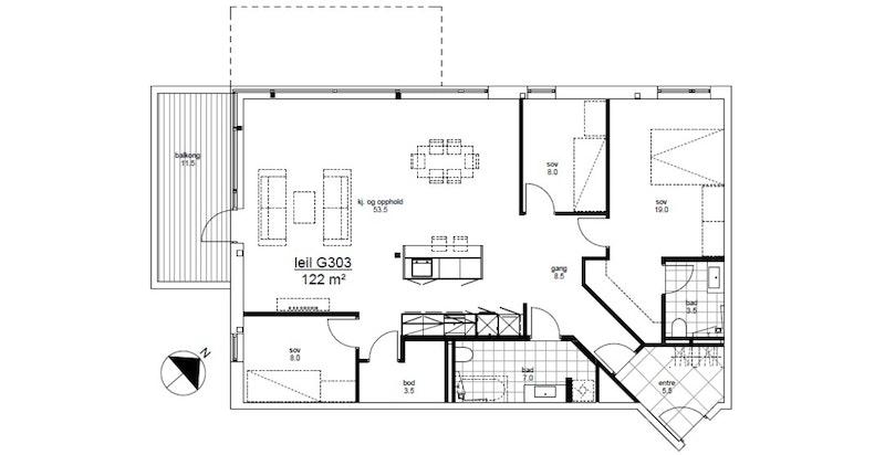 G303 plantegning. I tillegg medfølger 1 garasjeplass og 1 sportsbod med heis til leilighetsplan.