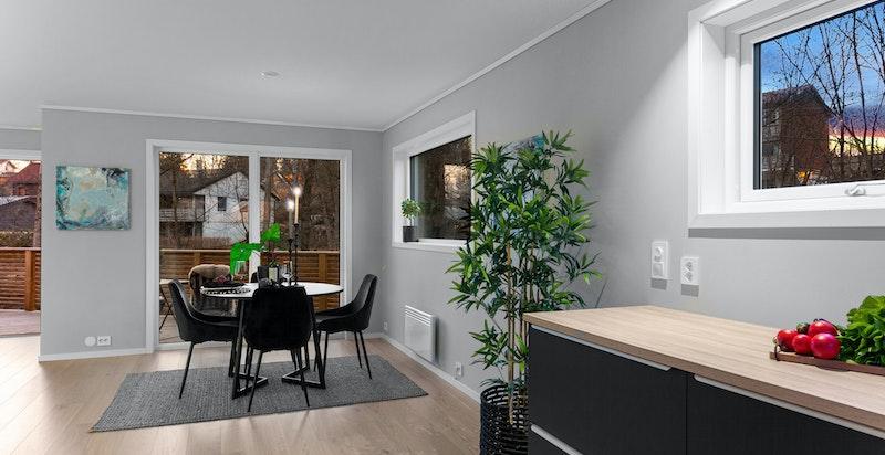 Stue/spisestue har en utforming som gjør det lett å møblere rommet i 2 soner