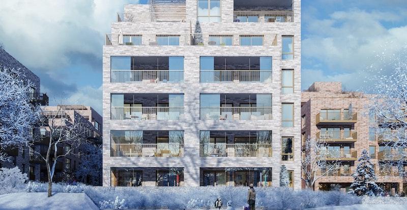 Bygg F - fasade mot syd. Balkonger har glassfelt som kan åpnes.