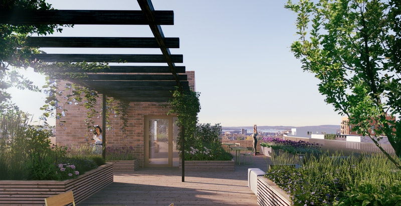 Alle bygg får felles takterrasser med optimale solforhold og flott utsikt. (Denne er Ikke fra hus F).