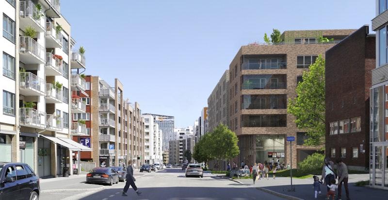 Tidlig illuststrasjon av Lørenveien med hjørnet i bygg C hvor det kommer nye næringslokaler.