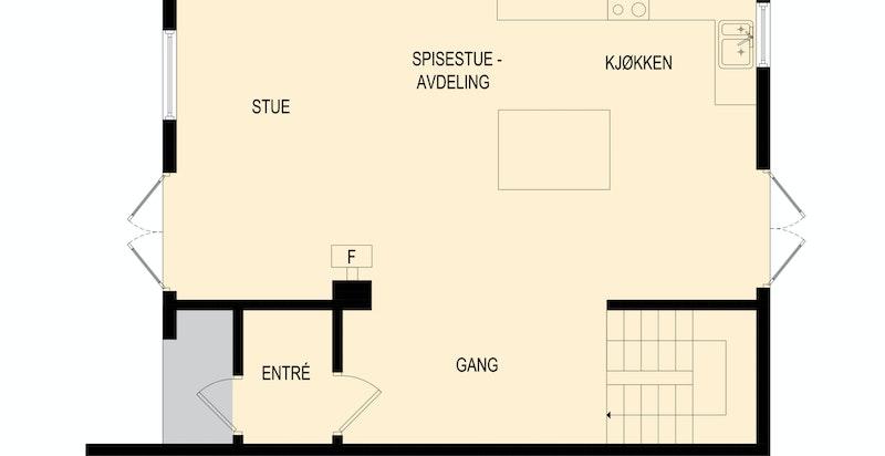 Entré, trapperom, kjøkken i åpen løsning og stue/spisestue med peisovn. Kjøkken og stue med utgang til uteplass/hage.