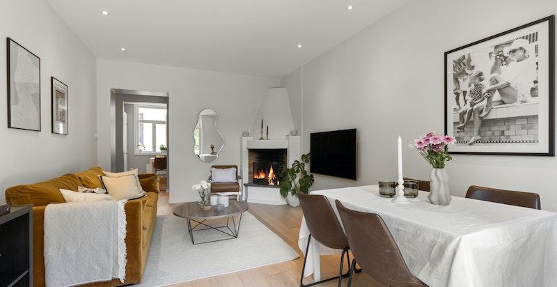 Leiligheten er optimalt løst og du har god plass til sofa og spisestue i stuen.