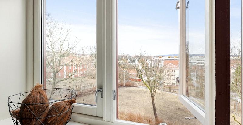 Det er nydelig utsikt fra de fleste rom i leiligheten, her ut til idylliske Vøienvolden gård og friområder