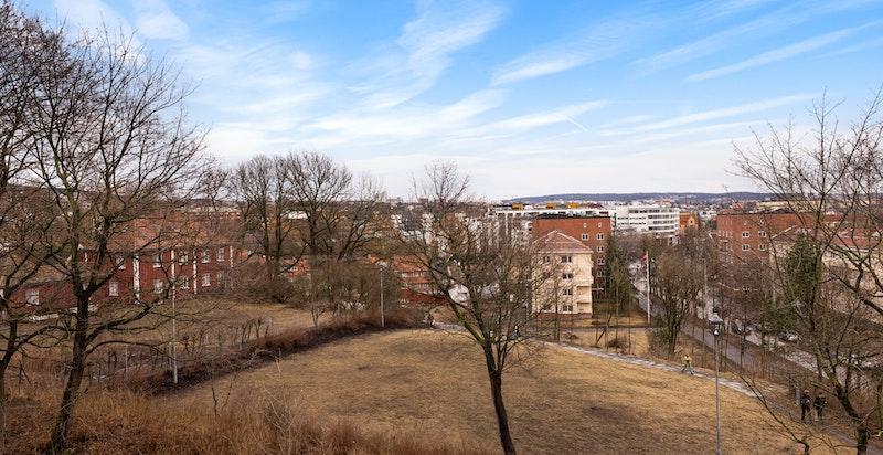 Det er hyggelig utsikt til Vøienvolden gård fra leiligheten
