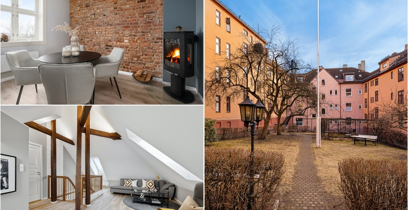 Velkommen til Fjørtofts gate 21 - en nydelig toppleilighet over to plan med flott utsikt uten innsyn i et populært boområde på Sagene