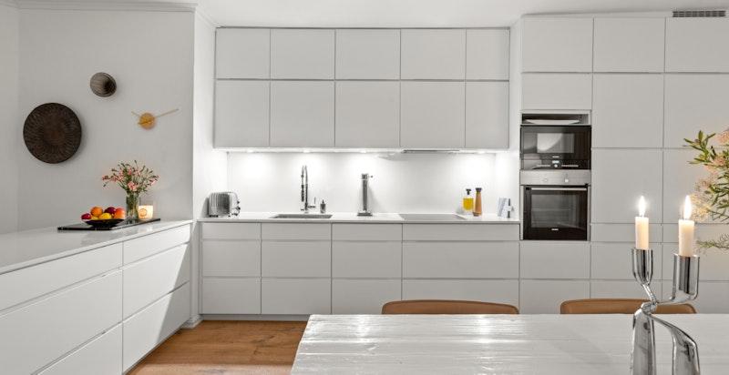 Kjøkkenet var nytt i 2019 med delikat og moderne innredning fra Kvik.