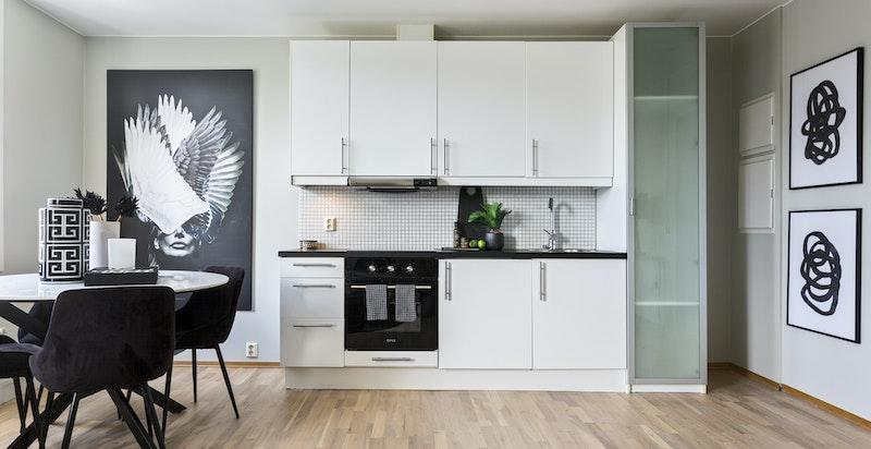 Kjøkkeninnredning med integrerte hvitevarer (kjøleskap under benken)