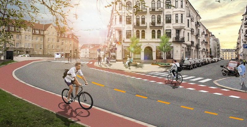 """Det er vedtatt sykkeltraseer i Ullevålsveien, samt omgjøring av dagens Taxiholdeplass til """"møteplass"""" med benker og trær."""