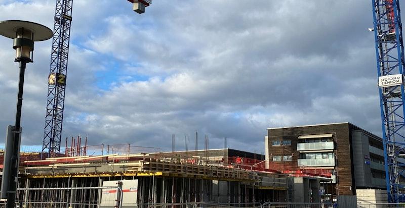 Bilde tatt fra byggeplass