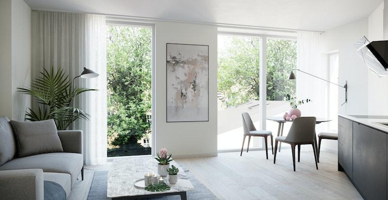 Eksempelbilde på standard i Bygåden (Her er bolig B1 som er solg) -  Bygget holder en flott standard på gulv, overflater og innredning.