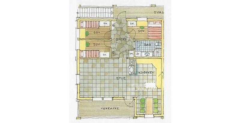 Plantegning for leilighet F25 fra når Gaustatunet ble bygd - avvik kan forekomme