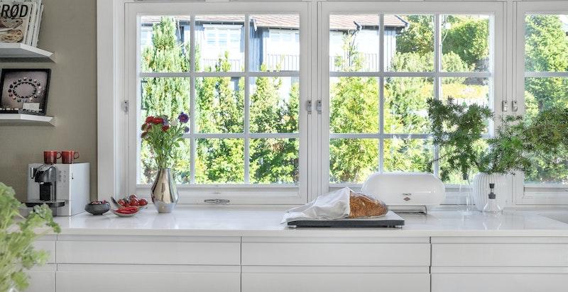 Store, vakre vinduer med grønt og hyggelig utsyn fra kjøkkenet.
