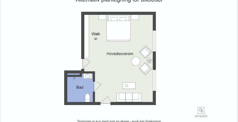 Alt plan - her med hovedsov og bad i dagens utleiedel. Rommet er stort nok til at man her også kan lage 2 soverom.
