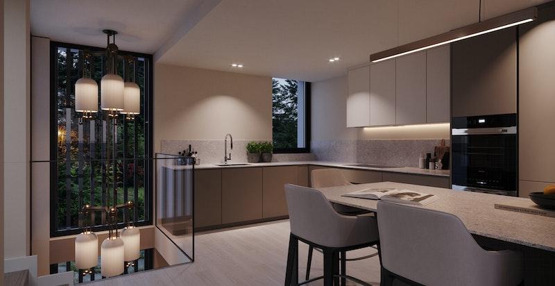Kjøkken leveres fra Poliform med kjøkkentype My Planet.