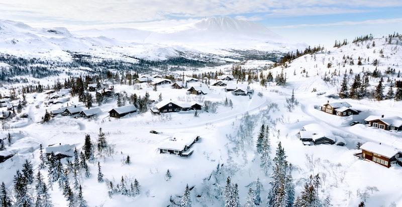 Foto fra området av februar 2021 - Toppen H2 Kvitåvatnlia til høyre i bildet
