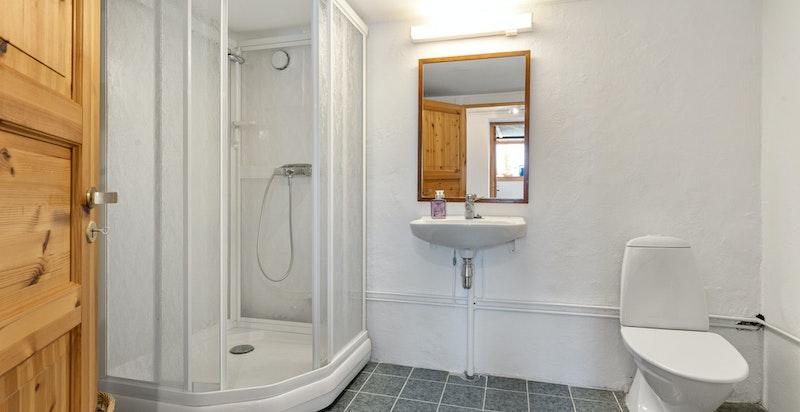 Bad i u.etg. innredet med dusjkabinett, servant og toalett. Her er det også opplegg for vaskemaskin