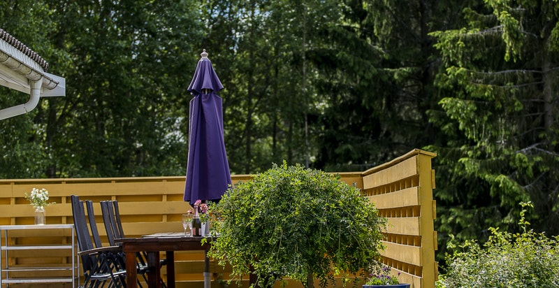 Terrassen har rikelig med plass for møblering etter eget ønske og har videre tilkomst ned mot hagen og eiendommen ellers