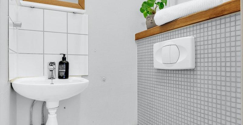 Separat toalettrom med veggmontert toalettog veggmontert servant med blandebatteri