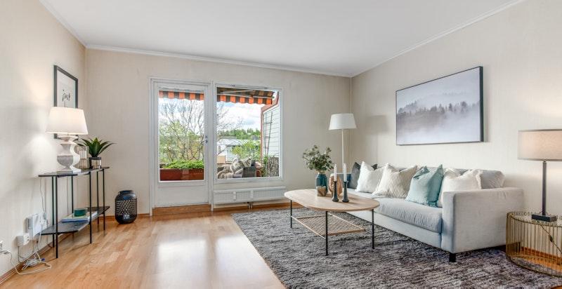 Lys og luftig stue med utgang vestvendt terrasse