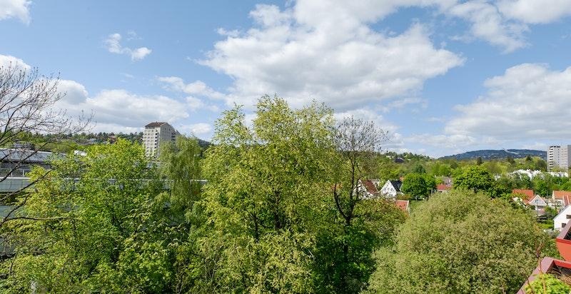 Utsikten fra terrassen mot vest. Blokken ligger inntil hyggelige Hoffsbekken