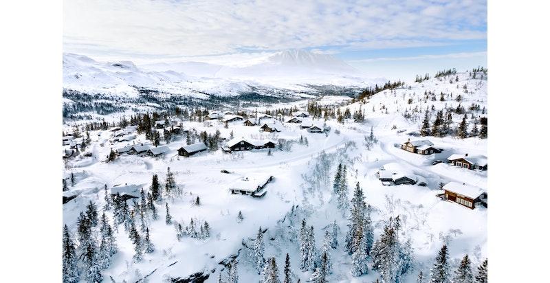 Foto fra området av februar 2021. Toppen H2 Kvitåvatnlia til høyre i bildet