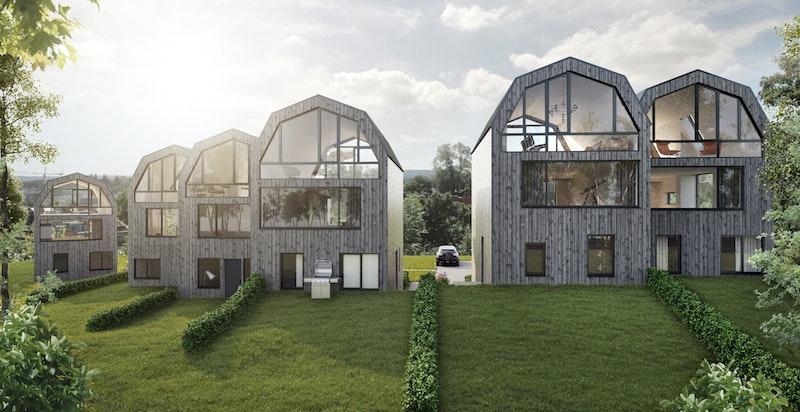 På den ene siden av den enkelte bolig blir det grønt og fint hageareal. Illustrasjon.