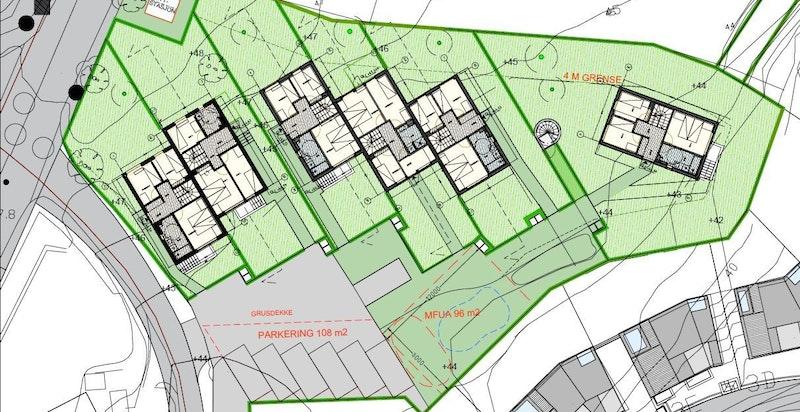 Foreløpig utomhusplan. Hus 4 og Hus 5 er ledige (Hus 1 til venstre, hus 6 til høyre).