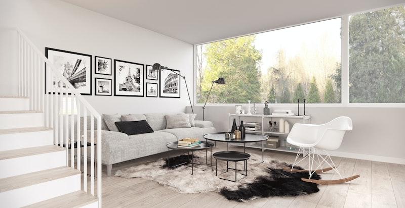 Stue 2.etg. Store vindusflater skaper en hyggelig atmosfære. Illustrasjon.