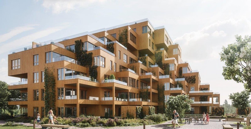 Velkommen til Magasinhagen!  Et unikt bygg signert Code Arkitektur. Illustrasjon.
