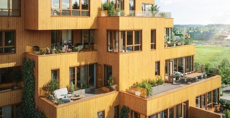 Fasade, detalj. Mange av leilighetene har store, solrike uteområder. Illustrasjon.