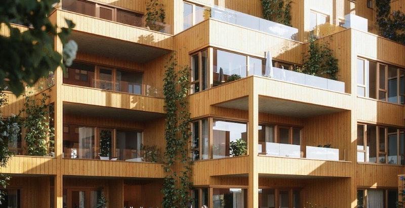 Leilighetene i 1. etasje vil få egne, private hager. Illustrasjon.