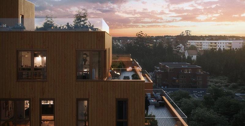 Magasinhagen, kveldsstemning på balkongen. Illustrasjon.