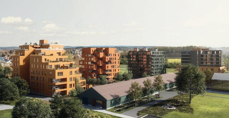 Oversiktsbilde, Magasinparken. Magasinhagen (bygg N) til venstre og bygg M i midten og Ski Tårn av A-lab-arkitekter til høyre (Ski Tårn av R21 lengst til høyre).