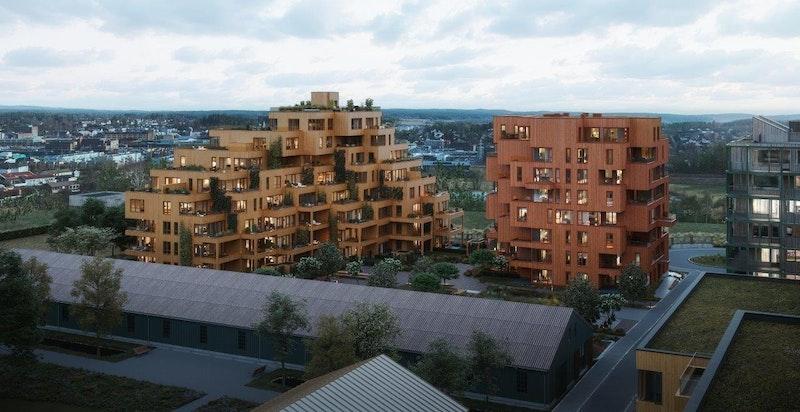 Oversiktsbilde, Magasinhagen. Magasinhagen (bygg N) til venstre og tårnbygg M til høyre. Illustrasjon.