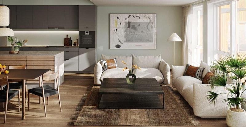"""Illustrasjon fra leilighet i 3. etasje, konseptet """"Skandinavisk"""""""