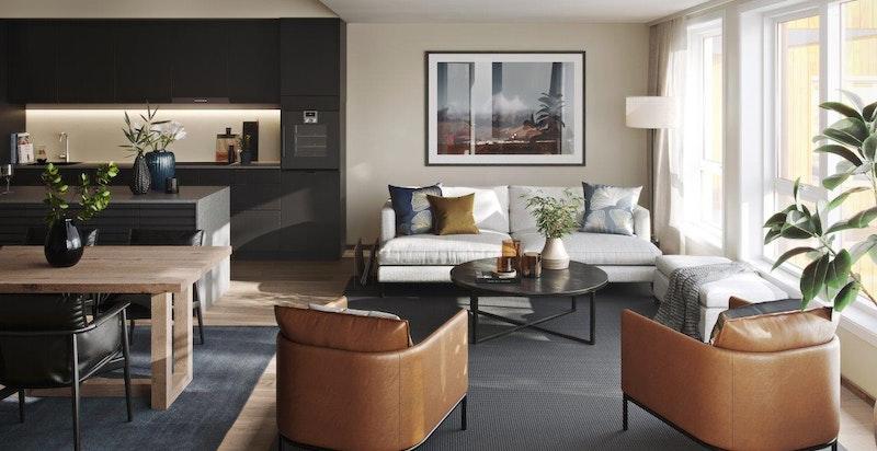 """Illustrasjon fra leilighet i 3. etasje, konseptet """"Elegant"""""""