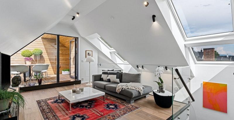 Tv-stue med utgang terrasse