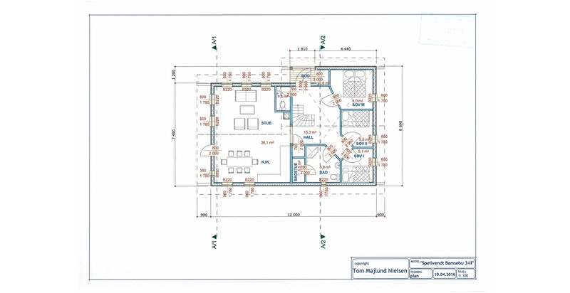 Plantegning plan 1 - plan 2 inneholder loftstue og sov 4