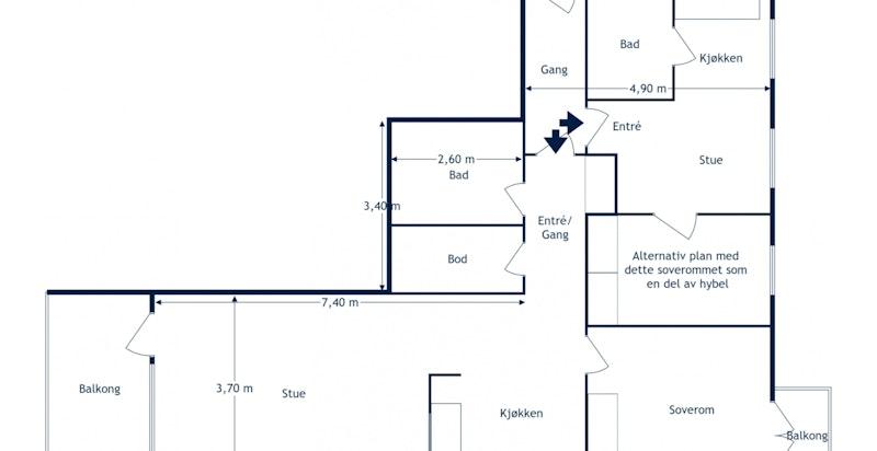 Alternativ planløsning hvor ett soverom er innlemmet i hybel (se forbeholdsbeskrivelse i prospektet)