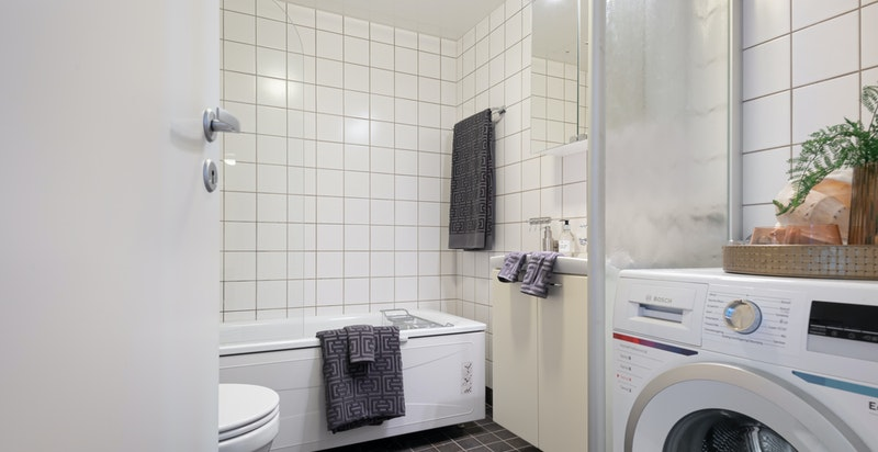 Hovedbad med opplegg for vaskemaskin/tørketrommel