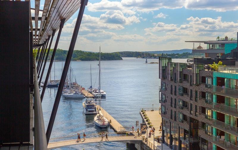 Utsikt fra balkong/terrasse mot Akershus