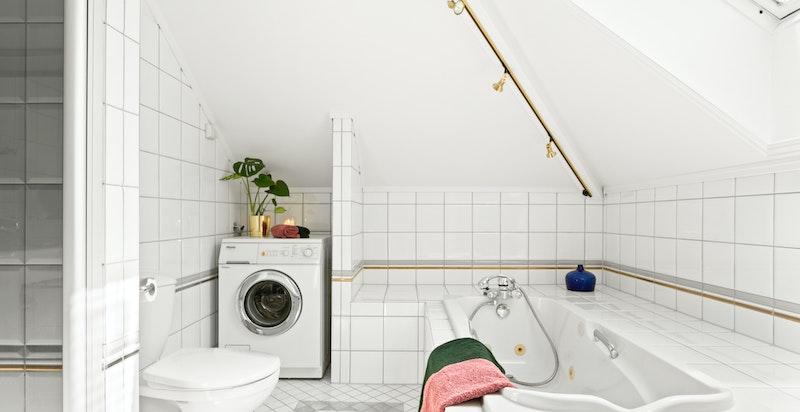 Badet har i tillegg opplegg for vaskemaskin og tørketrommel.